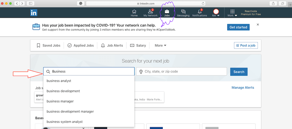 How to get started searching jobs on LinkedIn