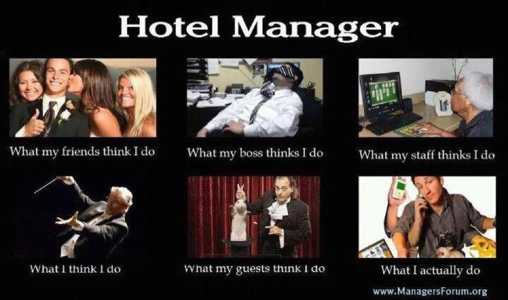 Funny Pictures related to Hospitality industry- Hotel Manager