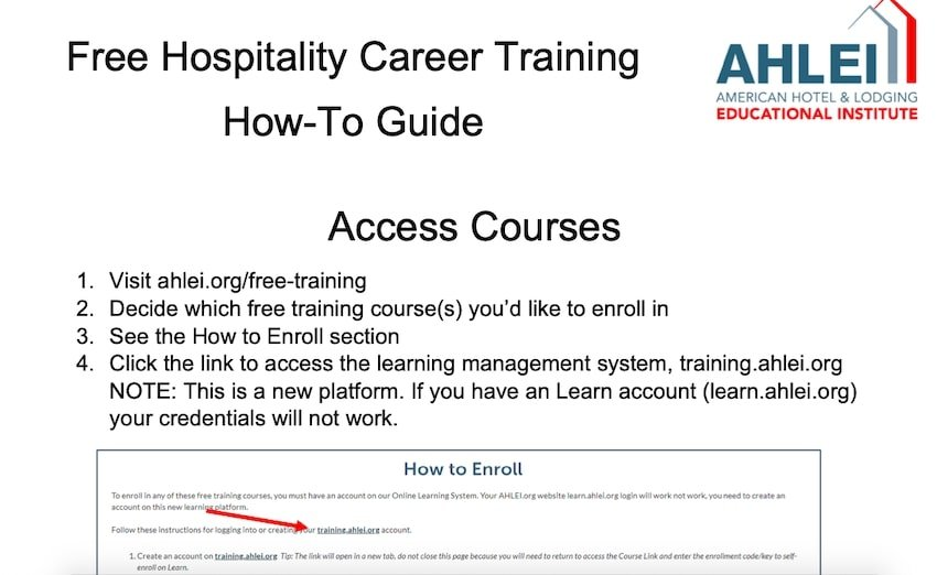Free hospitality career training AHLEI