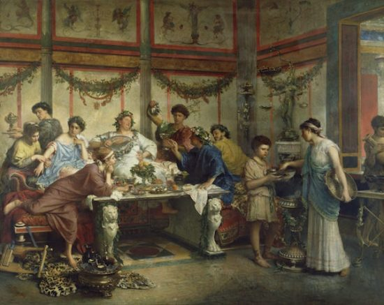 Painting of Roman Feast by Roberto Bompiani