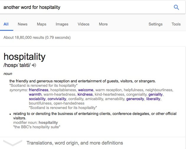 Best Hospitality Synonyms - Another Word for Hospitality