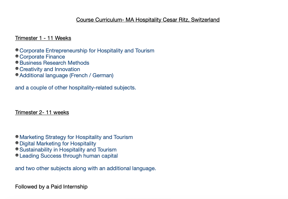 Course Curriculum- MA Hospitality Cesar Ritz, Switzerland