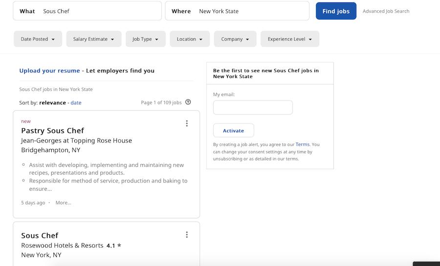 Indeed hospitality job search screenshot