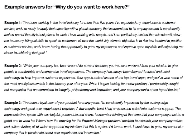 Why do want to work with us? Hospitality interview question and answer